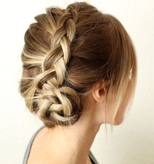 French braid into side bun updo