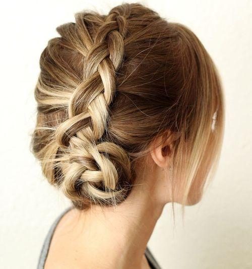 French braid into side bun updo
