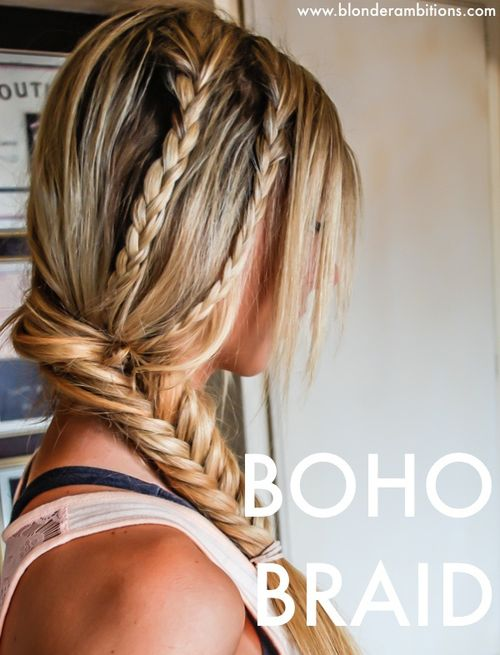 side fishtail with two french braids
