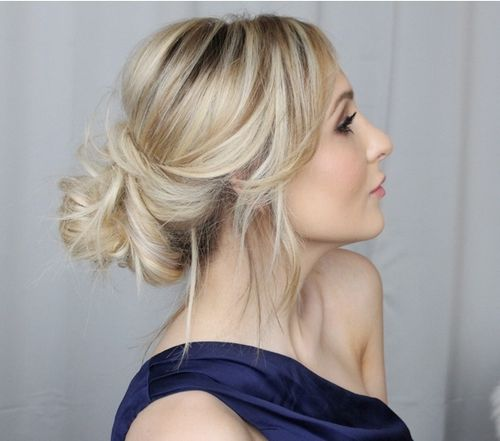 loose low updo for long hair