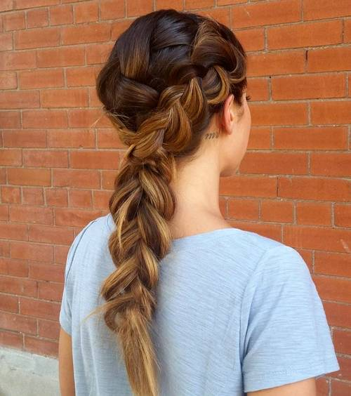 french braid hairstyle for long thick hair