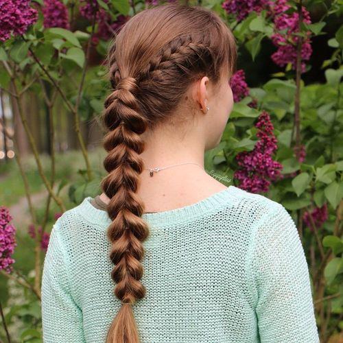 looped through ponytail braid