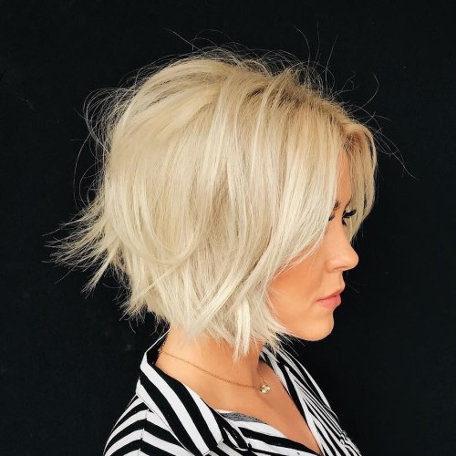 Chin-Length Messy Blonde Bob