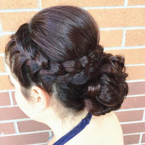 crown braid and braided bun updo