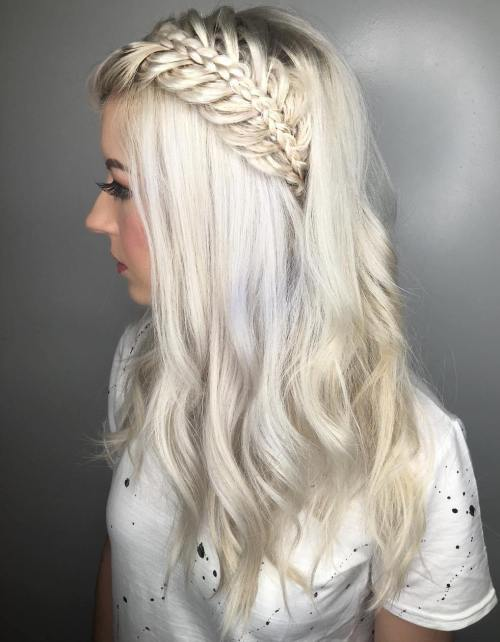 Platinum Blonde Hairstyle With Half Up Braid