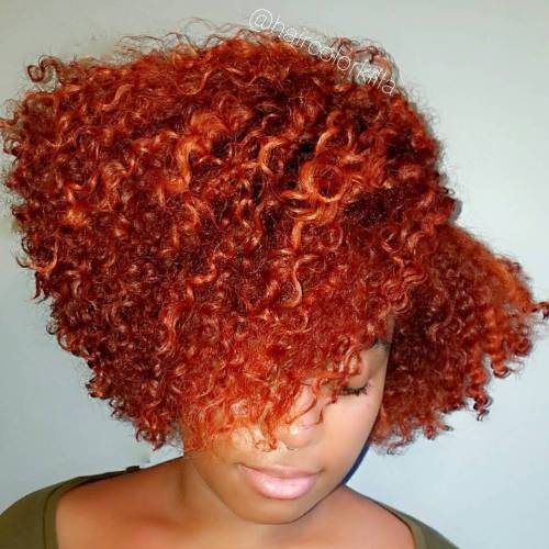 African American Curly Red Bob