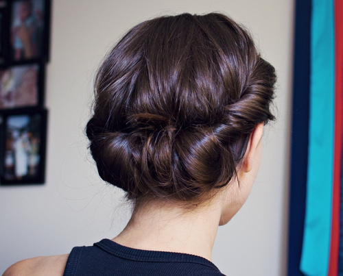 elegant low roll updo