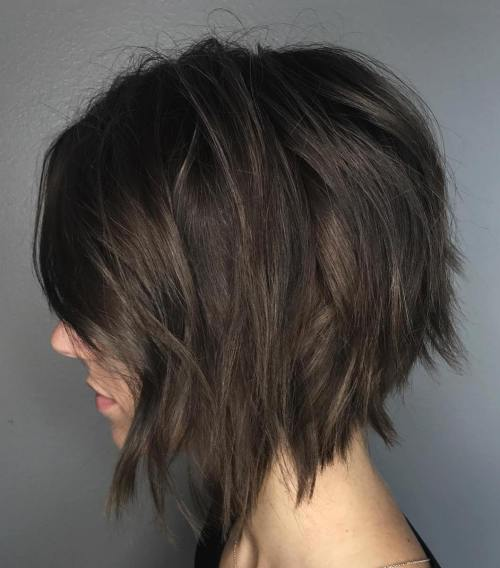 Inverted Chopped Brunette Bob