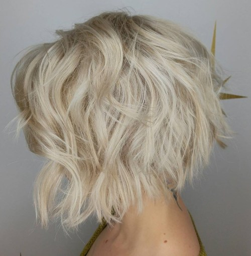 Shaggy Layered Bright Blonde Bob