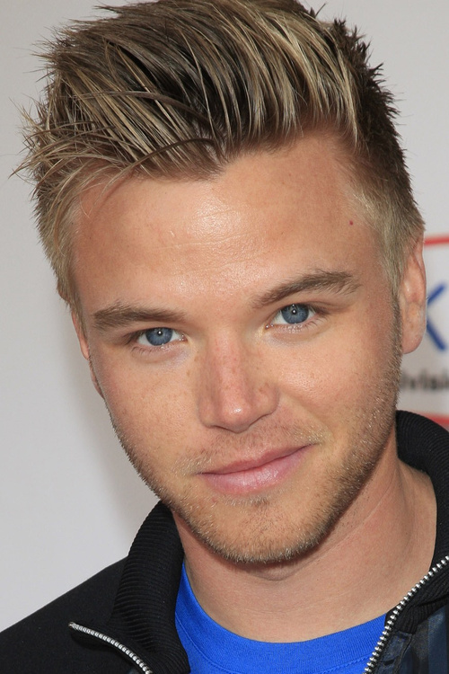 blonde upswept hairstyle for men
