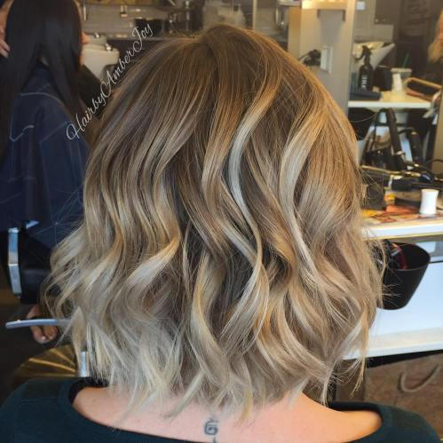 brown blonde wavy ombre bob