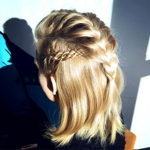 half up braided hairstyle for shorter hair