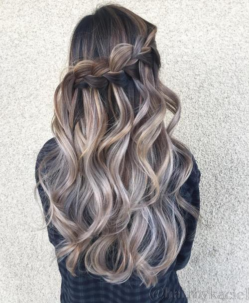 Wavy Hairstyle With Half Up Waterfall Braid