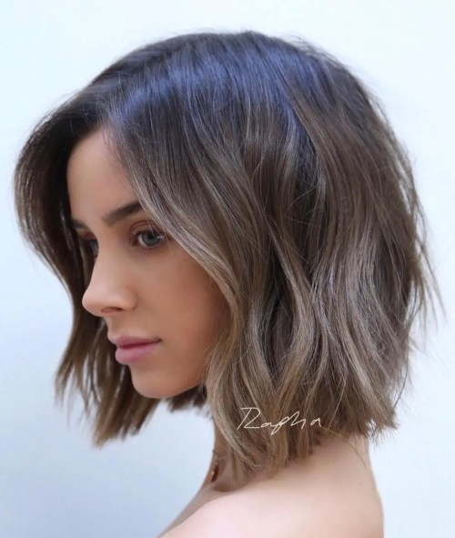 Choppy Cool Brown Balayage Bob
