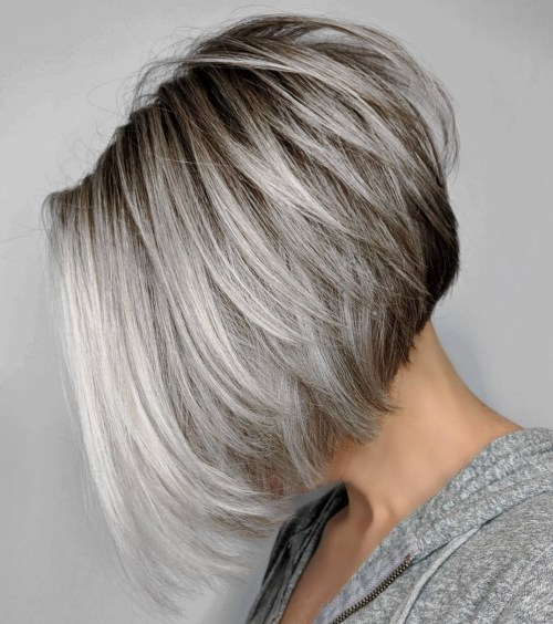 Inverted Layered Gray Bob with Brown Roots
