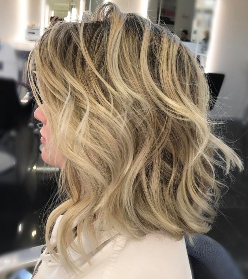 Blonde Balayage Lob With Dark Roots