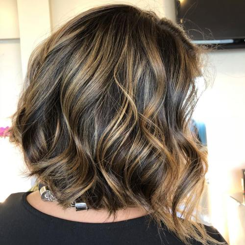 Brunette Bob With Golden Blonde Highlights