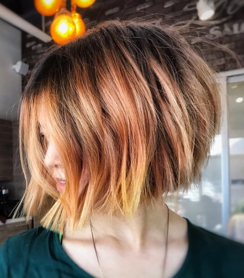Choppy Rose Gold Balayage Bob