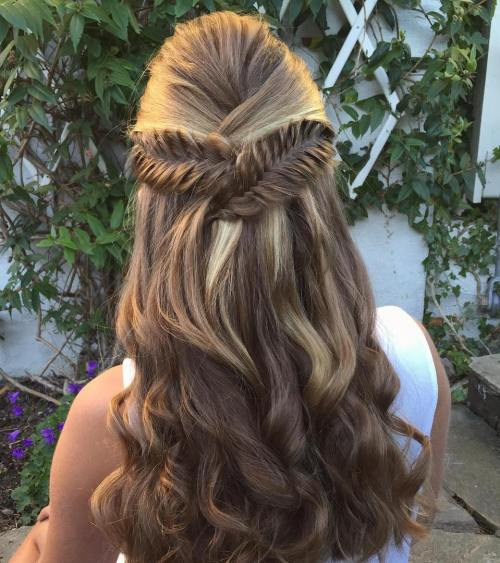 Half Updo With Criss Cross Braids