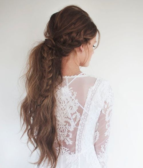 long messy braided ponytail