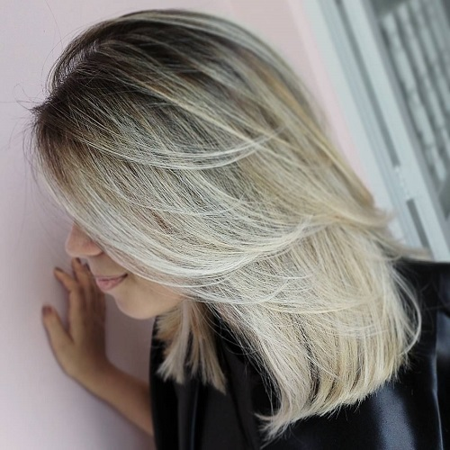 Blonde Layered Lob With Dark Roots