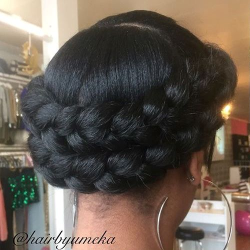 Black Double Crown Updo