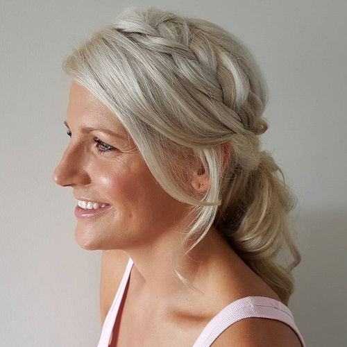 Blonde Ponytail With A Crown Braid