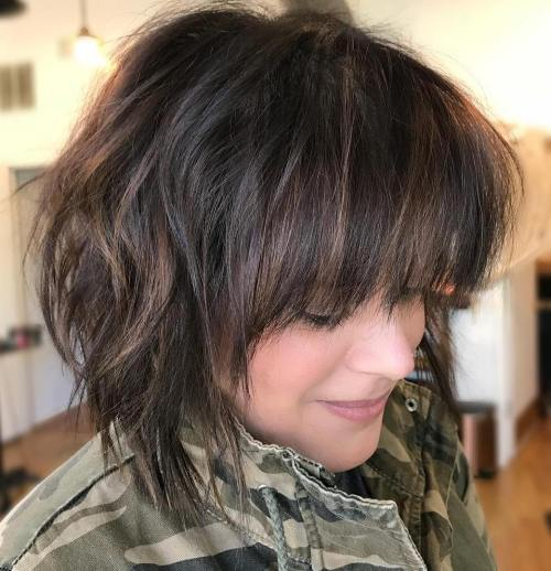Textured Brunette Bob Cut