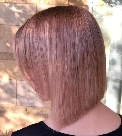 angled blunt bob with bangs