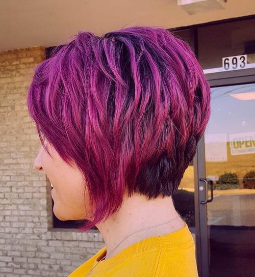 Layered Purple Balayage Bob