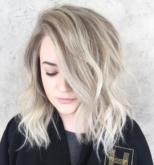 Long Side-Parted Tousled Blonde Bob