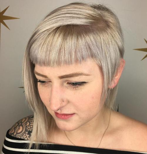 Asymmetrical Blonde Bob With Cropped Bangs