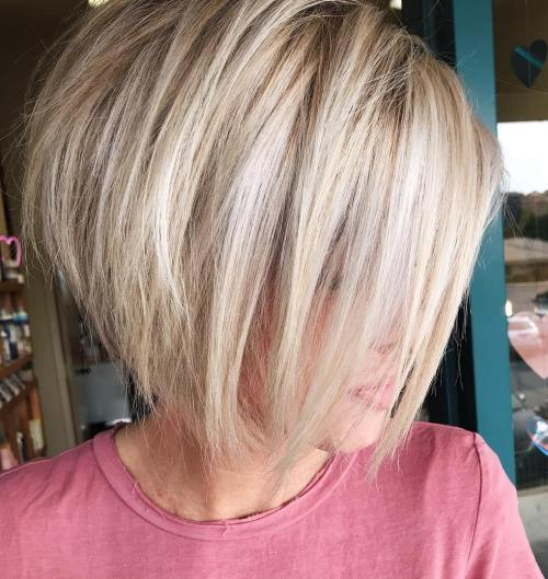 Blonde Stacked Bob With Bangs For Thick Hair