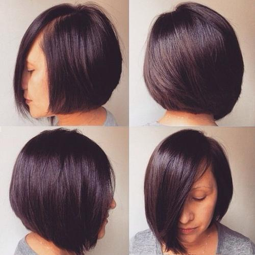 Asymmetrical rounded bob haircut