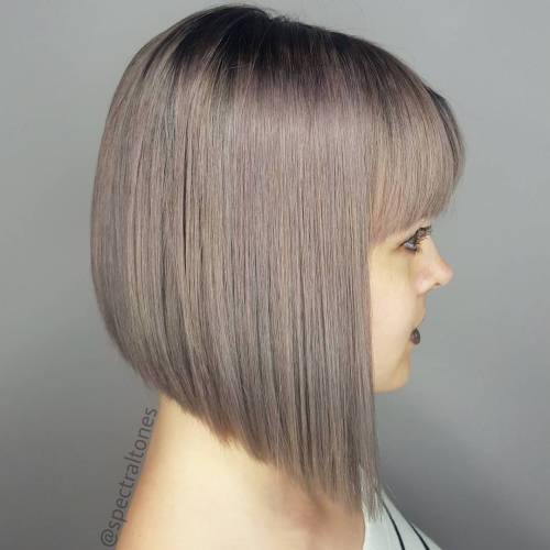 Straight Angled Bob With Bangs