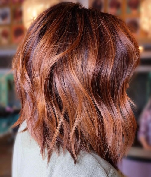 Burgundy And Copper Balayage Lob