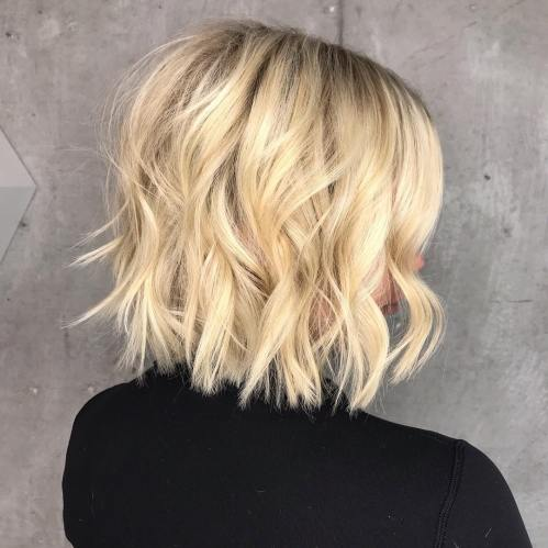 Medium Blonde Bob With Textured Layers