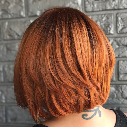 One-Length Red Bob With Piece-Y Layers