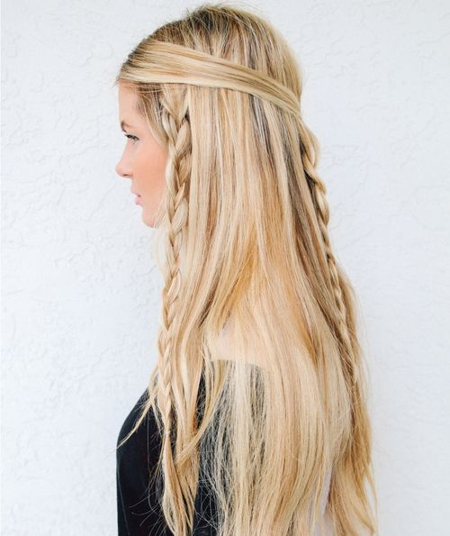 simple long braided hairstyle