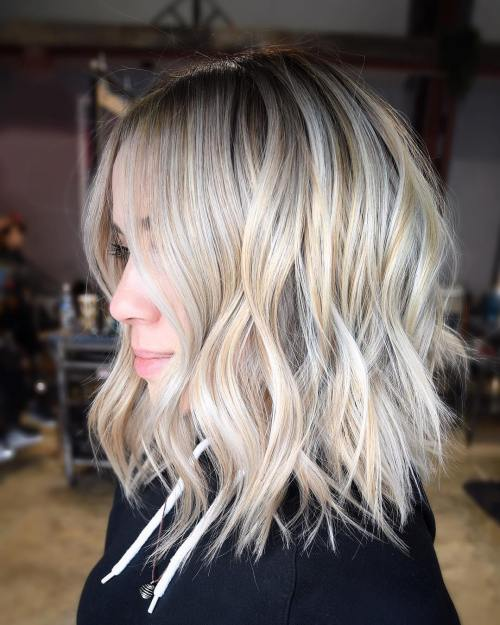 Ash Blonde Choppy Lob