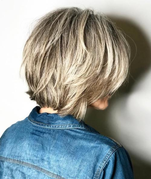Brown Choppy Bob With Blonde Balayage