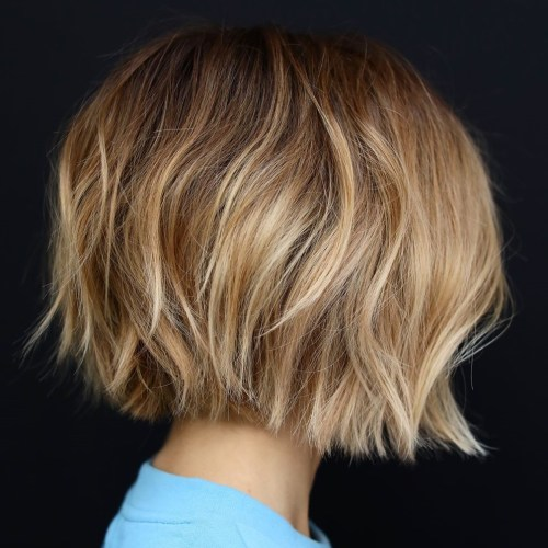 Choppy Shaggy Bob With Blonde Highlights