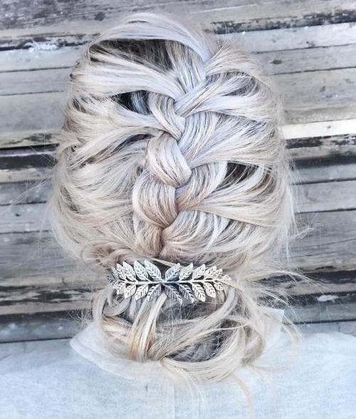 Messy Braid Into Bun Updo