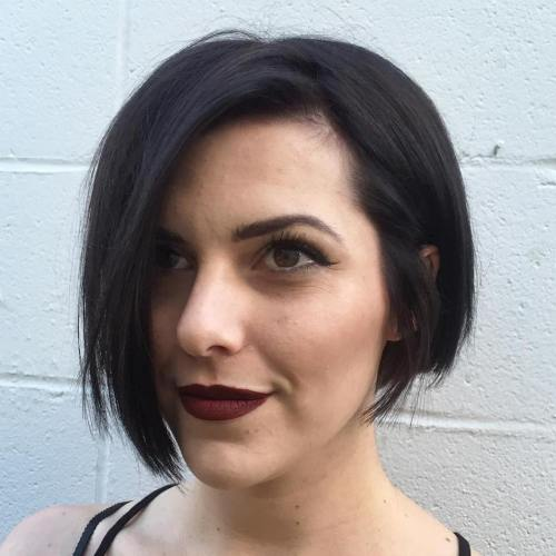 Short Asymmetrical Brunette Bob