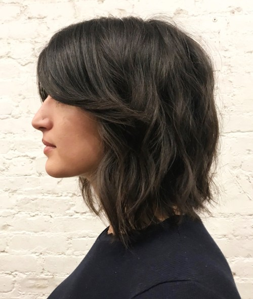 Wavy Collarbone Bob With Swoopy Bangs