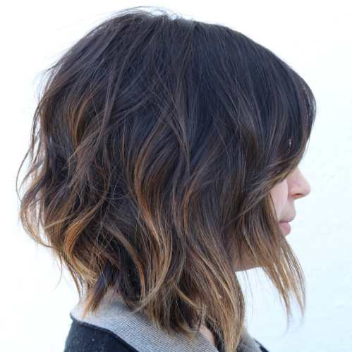 Black Wavy Bob With Copper Highlights