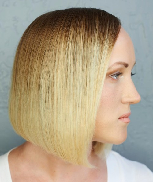 Honey Blonde Blunt Bob