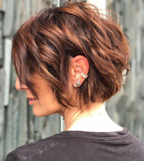 Short Choppy Copper Brown Bob