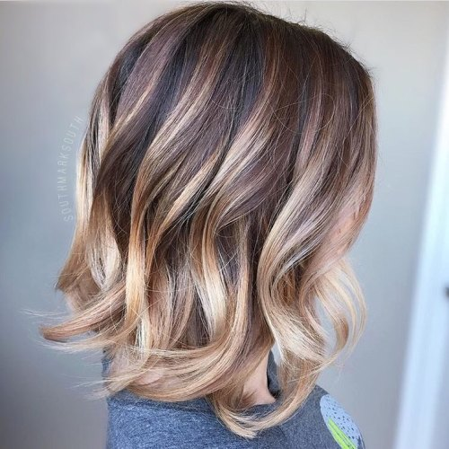 Brown Bob With Chunky Strawberry Blonde Highlights