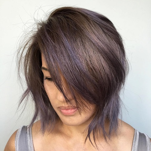 Choppy Brown Bob With Pastel Purple Balayage